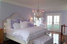 "4 Pictures Of Lavender Wall Decor Bedroom Lavender walls are absolute with abysmal colors such as dejected or purple.[[caption id="""" align=""aligncenter"" Lilac Bedroom, Purple Bedrooms, Home Bedroom, Lavender Bedrooms, Bedroom Themes, Bedroom Colors, Bedroom Decor, Bedroom Ideas, Nursery Ideas"