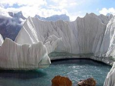 The Biafo Glacier in the Karakoram Mountains of the Northern Areas, Pakistan which meets Hispar Glacier at Hispar La (Pass) to create the world's longest glacial system outside the polar regions.