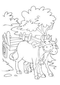 The cart harnessed by two bulls coloring pages Download Free The