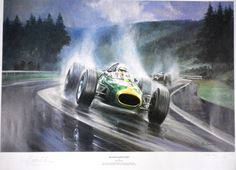 Alan Fearnley's 'Heading for Victory' showing Jack Brabham driving a Repco Brabham in the German Grand Prix