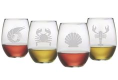 S/4 Clambake Stemless Wineglasses