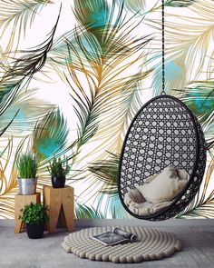 Removable Wallpaper Mural Peel & Stick Peacock Feathers by uniQstiQ on Etsy https://www.etsy.com/listing/527942404/removable-wallpaper-mural-peel-stick