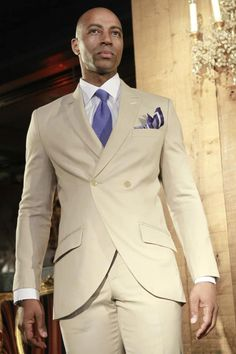 Beige and Blue tailored suit.