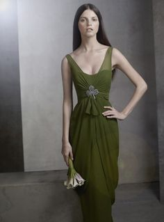 Wyck's Green Column Satin Gown worn at the Ignis Ball