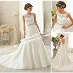 Free Shipping Lace Sleeveless a line Dress Wedding with Sexy Deep V Backless AW029 vestido de novia 2014