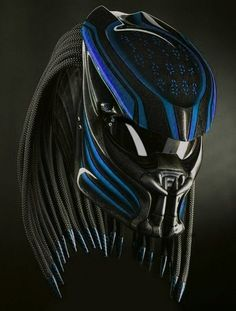Here we sell several helmets that have been modified / specifically designed to be character helmets, and these helmets already have certificates or DOT And ECE standards. Making process - The process of making a predator helmet require. Motorcycle Events, Custom Motorcycle Helmets, Bike Helmets, Predator Helmet, Predator Alien, Blue Rider, Half Helmets, Helmet Accessories, Black Fire