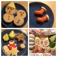 Lunch Box - Bald nun ist Weihnachtszeit... - Toastbrot-Schneemänner mit Käse-Hüten / Würstchen-Weihnachtsstiefel / weihnachtliche Dekoration aus Brot, Wurst, Käse, Gurke / dazu Pfeffernüsse