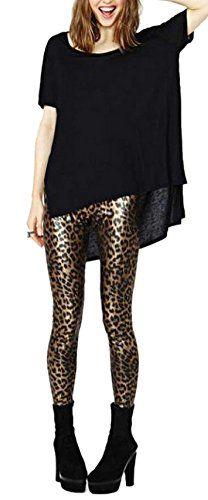 cf086cc2b1e979 Lingswallow Womens Fashion Gold Sexy Leopard Animal Print Pant Skinny  Leggings -- Click image for