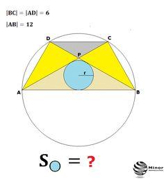 How do you calculate the area of the blue circle?  Trapez równoramienny ABCD o ramieniu długości 6 wpisany jest w okrąg, przy czym dłuższa podstawa AB trapezu, o długości 12, jest średnicą tego okręgu. Przekątne AC i BD trapezu przecinają się w punkcie P. Oblicz pole koła wpisanego w trójkąt ABP.