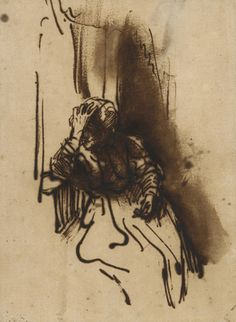 Woman Leaning on a Window Sill, Rembrandt