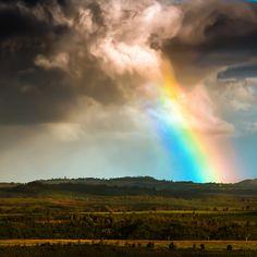 Huge rainbow at Waimea Canyon, Kauai.