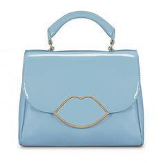 Dusty Blue Smooth and Patent Leather Small Izzy Satchel