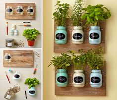 diy garden ideas You'll have a continuous supply of seasonal fresh herbs on hand when you have a Mason Jar Herb Garden. We've included lots of ideas that will inspire and delight plus instructions on how to make them. Watch the video tutorial too. Mason Jar Herbs, Mason Jar Herb Garden, Diy Herb Garden, Mason Jar Diy, Garden Planters, Herbs Garden, Wall Herb Garden Indoor, Indoor Herbs, Mason Jar Planter
