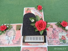 Handmade Foam roses on A Musical Box Card School Projects, Projects For Kids, Foam Crafts, Paper Crafts, Foam Roses, Card Making Tutorials, Pop Up Cards, Recycled Crafts, Flower Tutorial
