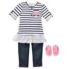 jeans, sandals, and tunic.  This is a mini mommy outfit!