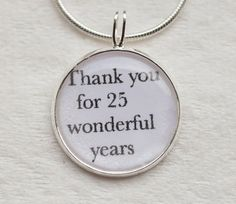 Anniversary Necklace25 YEARSthank you for by PersonalizedbyBonnie, $15.50