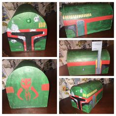 A homemade Boba Fett Star Wars Valentine's Day mailbox.