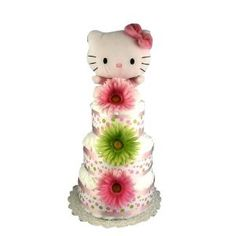 Hello Kitty Baby Shower Pink and Green Diaper Cake $59.95