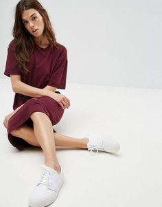 #ASOS - #ASOS ASOS Ultimate Midi T-Shirt Dress With Rolled Sleeves - Red - AdoreWe.com