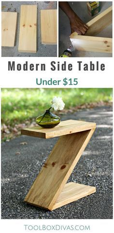 Learn how to build this simple modern side table that is shaped like a Z. Great beginner woodworking project. Would be a great Christmas gift. How to plan for modern furniture. @ToolboxDivas #ToolboDivas #Freeplans #Modernfurniture #DIY #Woodworking #Sidetable
