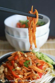 """Pad Thai with Sweet Potato """"Noodles"""" are a super delicious and healthy, low glycemic, low carb and gluten free way to enjoy noodles. My family loved this and had no idea they were eating sweet potatoes!"""