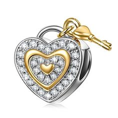Love You Forever 925 Sterling Silver Lock Key Dangle Heart Shape Charms.More info for pearl bracelet;chunky silver bracelet;charm bracelets;women's bangle bracelets;design of gold bracelet for female could be found at the image url.(This is an Amazon affiliate link and I receive a commission for the sales)