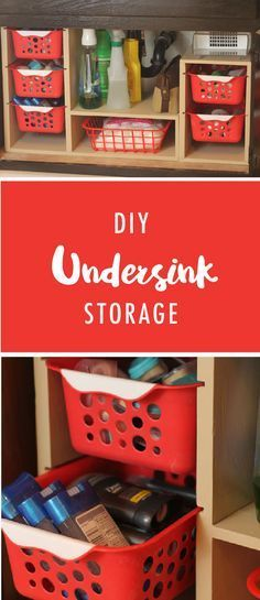DIY undersink storage! By creating vertical storage and using removable baskets, you can maximize the space and make it so much easier to keep everything organized.
