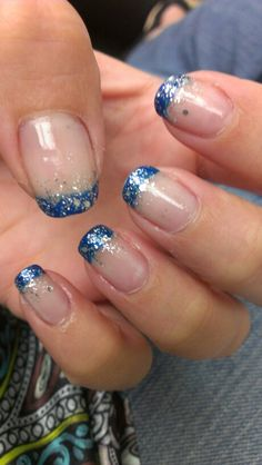 Sparkly blue tipped nails