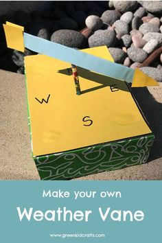 Weather project for kids. DIY weather vane project. Stem Projects For Kids, Recycling Projects For Kids, Green Crafts For Kids, Science Fair Projects, Kid Crafts, Weather Vane Diy, Weather Art, Weather Crafts, Weather Experiments
