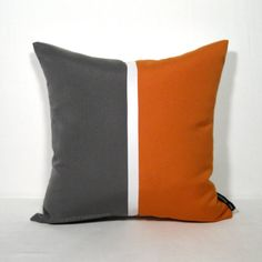 Grey Orange Color Block Pillow Cover in a mid-century modern palette - for indoor and outdoor living spaces that require stain and fade resistance!  #mazizmuse #Sunbrella
