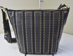 0c7d9b6429754 Michael Kors Black Leather Brooklyn Grommet Medium Feed Bag  159.8 Taschen  Nähen