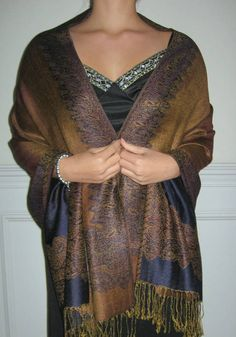 Pashmina Shawl Rust Navy Unique Treasure $29.99 on sale women love silk pashminas this ply is better for the spring cool air. Evening elegance and affordability make this a best buy!
