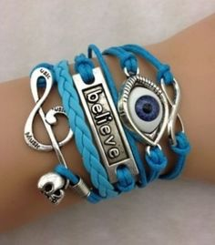 Infinity Believe Skull Music Eye Leather Charm Bracelet plated Silver http://tophatter.com/lots/6982463?ref=1588603&campaign=twitter-share