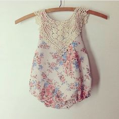 Vintage-inspired floral lace-collared romper made by NooksDesign