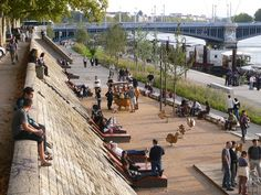 Les berges du Rhône / Lyon, France / by IN SITU. Click image for a full description and visit the Slow Ottawa 'Streets for Everyone' board for more people-friendly urban spaces.