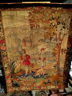 French Handwoven Aubusson Tapestry - Rare Scene - 46x 35