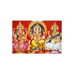 Hindu Godess Laxmi, God Ganesh and Goddess Saraswati (Left to Right)... ($22) ❤ liked on Polyvore featuring home, home decor, wall art, artists, photography wall art, photographic wall art and photography posters