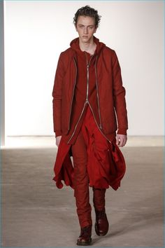 Fall/Winter 2016: Siki Im layers for its fall-winter 2016 collection, showcasing an oxblood hoodie, bomber jacket and slim-fit pants.