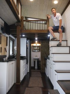 This is a model luxury tiny home on wheels designed and built by Mike Bedsole of Tiny House Chattanooga. This tiny house is called the Nooga Blue Sky, it's built using steel framing Tiny House Luxury, Tiny House Design, Tiny House Plans, Tiny House On Wheels, Micro House, Tiny House Movement, Tiny House Living, Living Room, Tiny Spaces