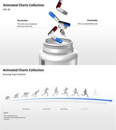 Animated PowerPoint templates with sprinter and pills.