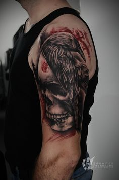 Skull Raven Trash Polka Tattoo