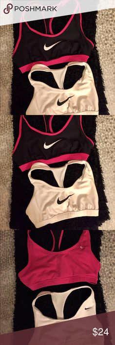PRICE DROP! 2 Reversible Nike Dri-Fit Sport Bras! Bundle! Two reversible Nike Dri-Fit sports bras. Good condition! 4 bras for one price!! Good deal 💕💕💕 tags are cut off but they fit like a small. No padding. Cool mesh accents. 😊 Nike Intimates & Sleepwear Bras