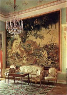 The decor of the Old Drawing Room, reconstructed from Cameron's sketches, is similar in character to that of the Dancing Room. Its walls are hung with Gobelins tapestries of The Indies series, woven in 1780 by Jacques Neilson from the cartoons of Alexandre-Francois Desportes at the Gobelins Tapestry Works in France.