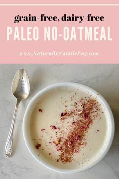 4 Ingredient Paleo Oatmeal recipe for creamy, dreamy, and completely grain-free oatmeal. Warm, healthy oats recipe for a super easy paleo breakfast! Top Recipes, Almond Recipes, Gluten Free Recipes, Healthy Recipes, Grain Free, Dairy Free, Paleo Oatmeal, Oatmeal Recipes, Paleo Breakfast