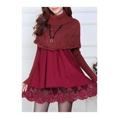 Rotita Lace Panel Cloak Design A Line Sweater Dress ($28) ❤ liked on Polyvore featuring dresses, wine red, red mini dress, long sleeve turtleneck dress, long-sleeve sweater dresses, long-sleeve turtleneck dresses and red sweater dress