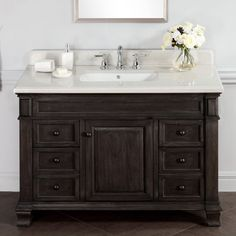 Bathroom Vanities Rustic Style infurniture rustic style 36-inch single sink bathroom vanity (dark