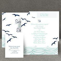 birds, ocean, and destination themed wedding invitations | making waves beach wedding invitation
