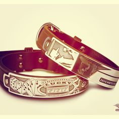 "Custom leather handmade ""gambling"" and ""zorro"" themed dog collar for John of Bakerfeild, CA and his 2 pitbulls ."