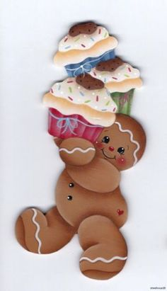 HP Gingerbread with Cupcakes Fridge Magnet | eBay
