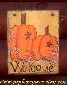 A spin off from our Welcome Autumn Pumpkins Slate Sign is this Primitive Welcome Autumn Pumpkin Hand Painted Decorative Slate Sign  This slate measures approximately 7 x 9 and 8 x 10 inches. If interested in a 10 x 12 please message me for a custom order.  This slate sign can be hung by a leather cord or designed for one of our wrought iron lawn and garden slate holders.  To see the slate holders please go to…